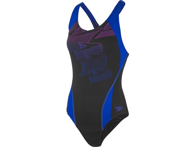 comprar baratas 4b540 5cb09 speedo Boom Placement Racerback Traje de Baño Mujer, black/blue